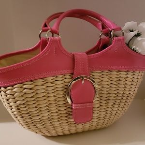 Coldwater Creek Pink and Straw Purse